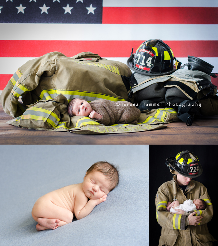Firefighter newborn shannon il newborn photographer teresa hammer photography